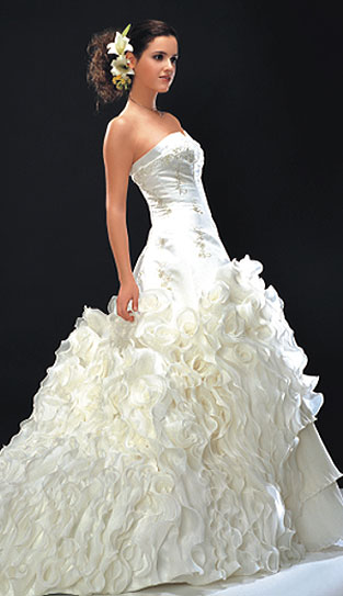 The perfect wedding dress doesn't need to be put on it is on with a snap of